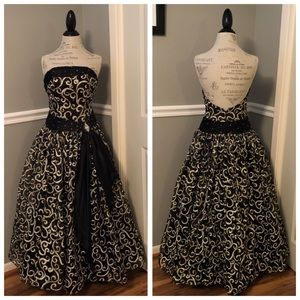 TIFFANY BLACK GOLD STRAPLESS JEWELED BALL GOWN